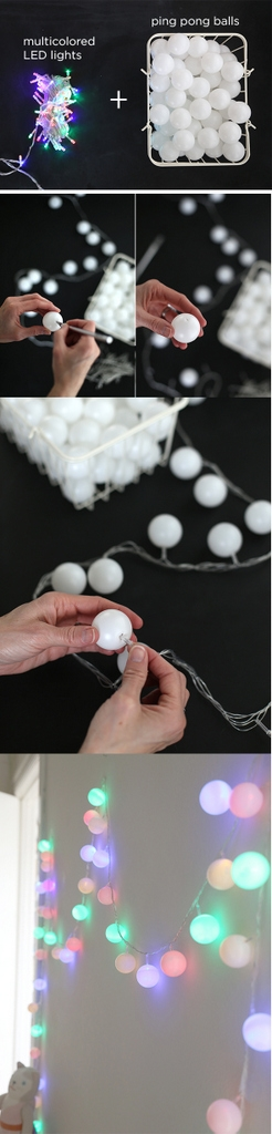 DIY ping pong lights garland