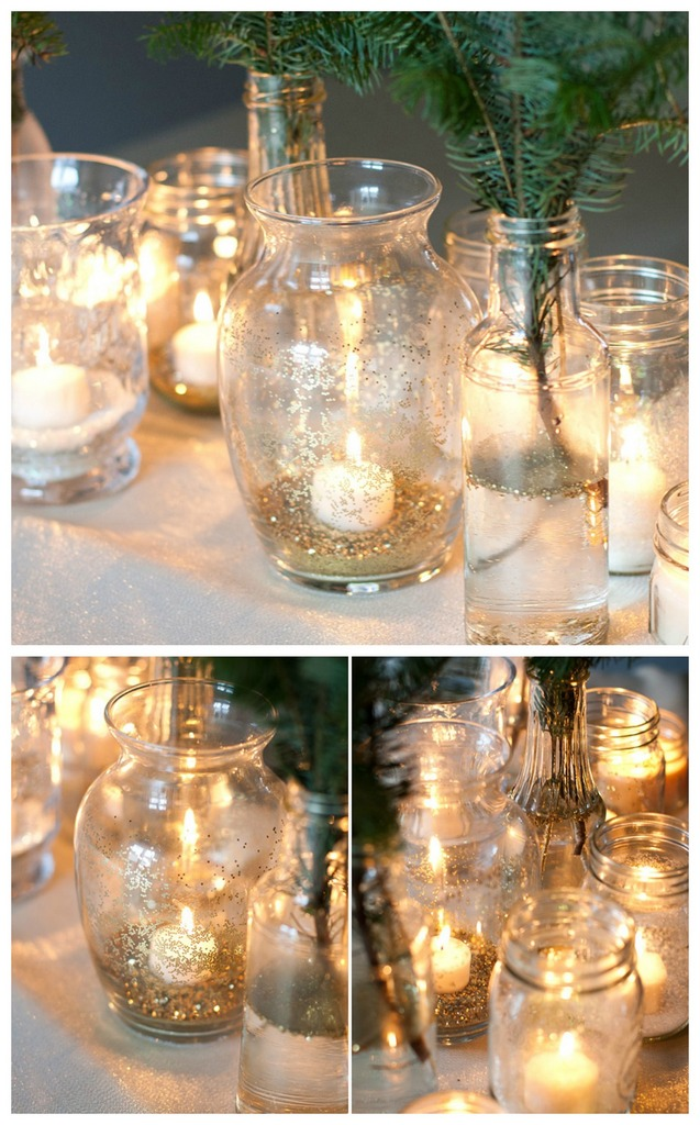 Glitter vases candle holder