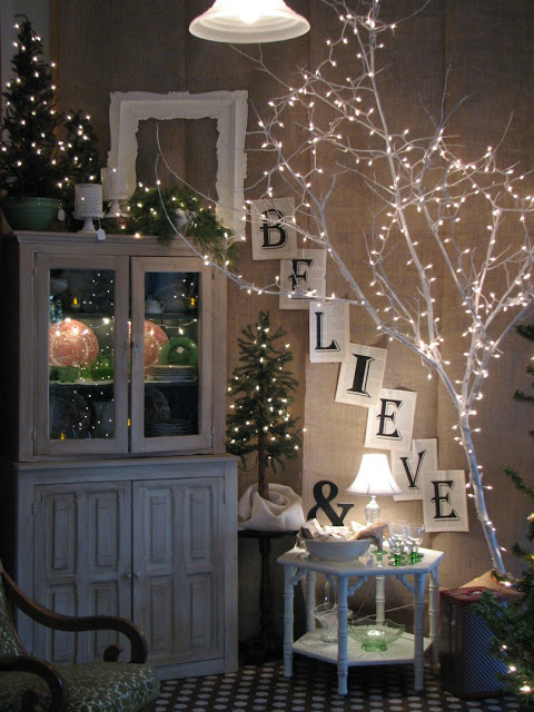 decorating with lights lighted branch