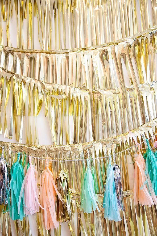 Confetti gold strings backdrop