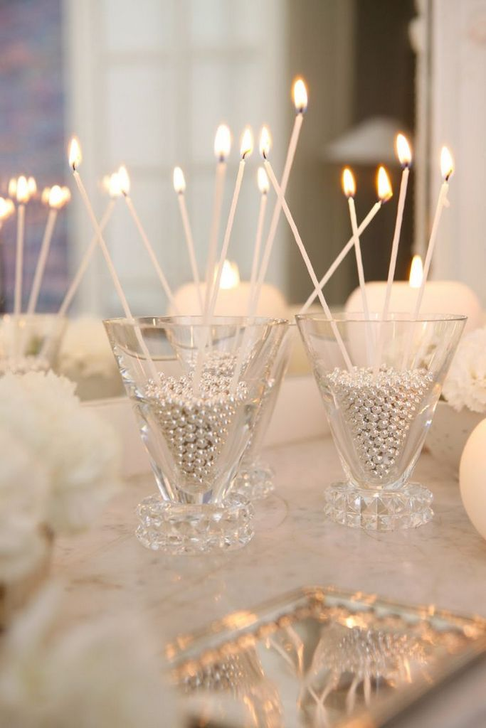 Blue Candle Centerpieces