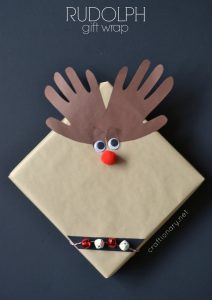 DIY Rudolph wrapped gifts