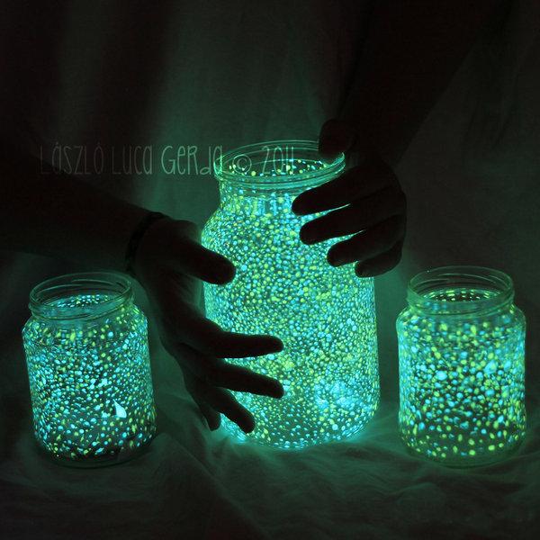 Glow in the dark mason jars