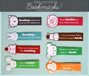Free kids bookmarks printable