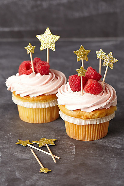 paper glitter star cupcake toppers