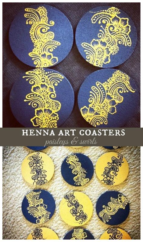 Mehndi art coasters