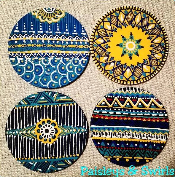 Colorful mehndi art coasters