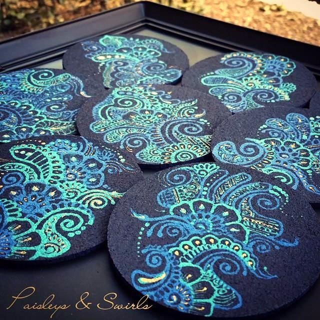 projects design unique coasters. Creative henna coasters Craftionary