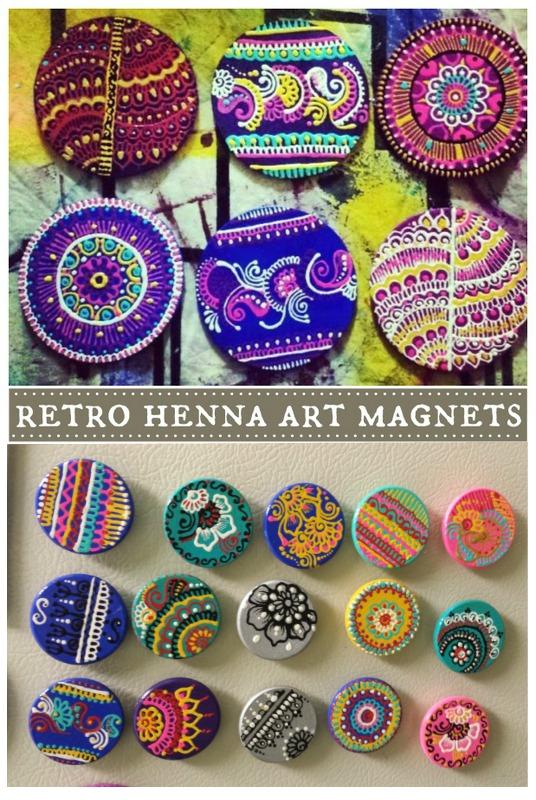 retro henna art magnets