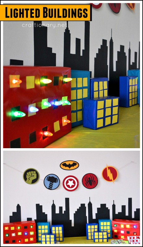 DIY lighted buildings for superhero birthday party