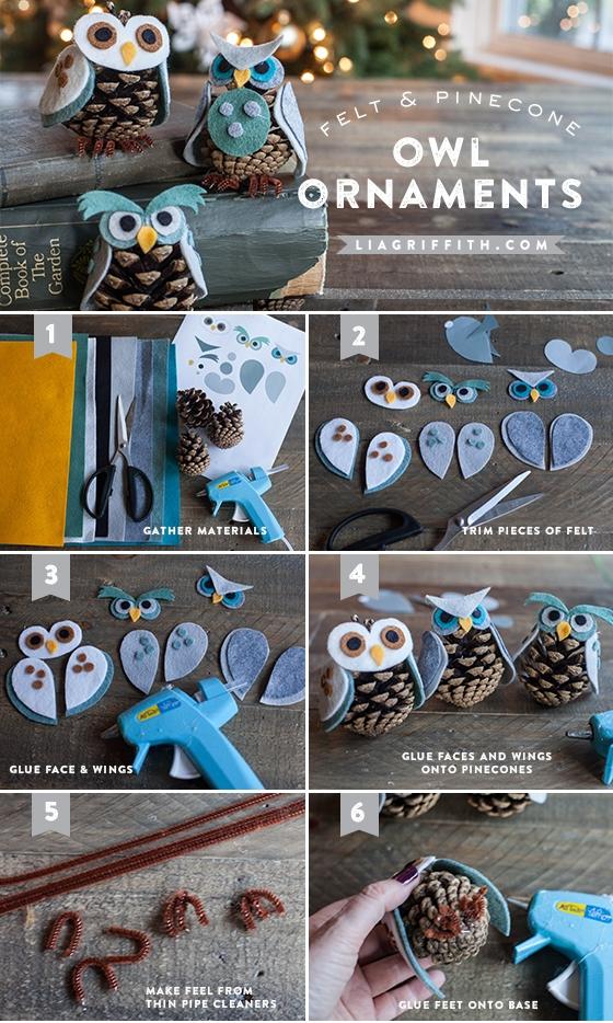 Adorable pine cone owls