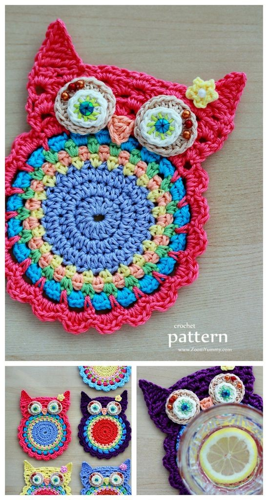 6e84ce8bd Crochet owl coasters. Beautiful and vibrant free crochet pattern ...
