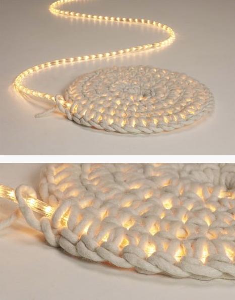 Crochet rope light mat