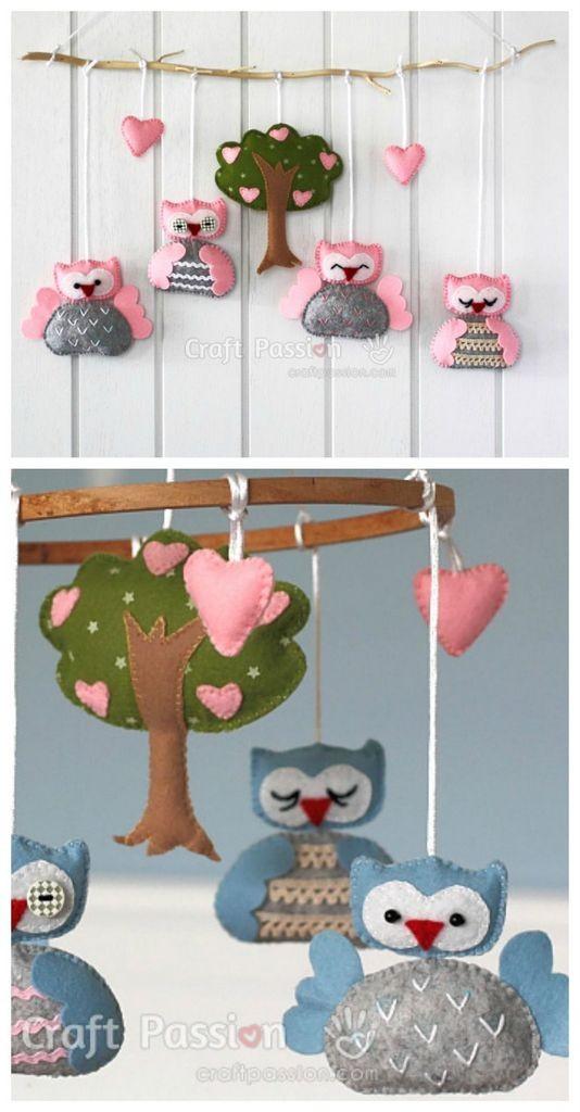 DIY felt mobile with hanging owls