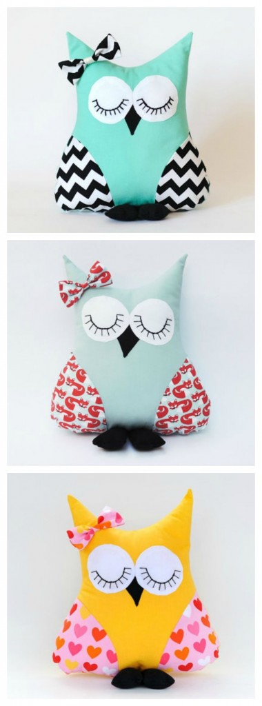 DIY modern owl pillows