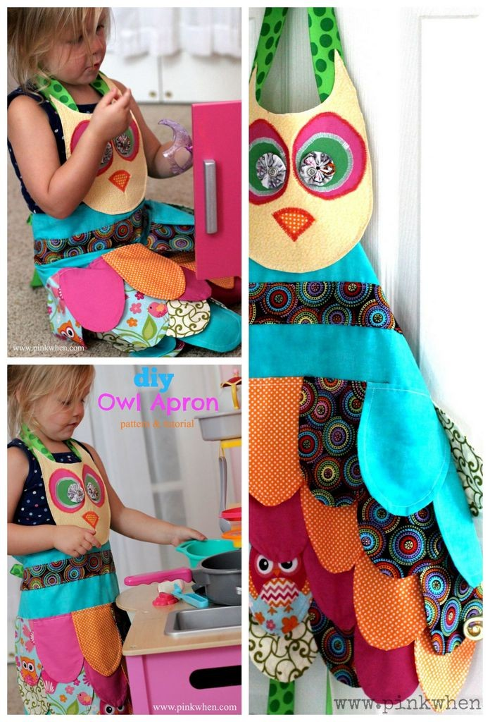 DIY owl apron with fabric