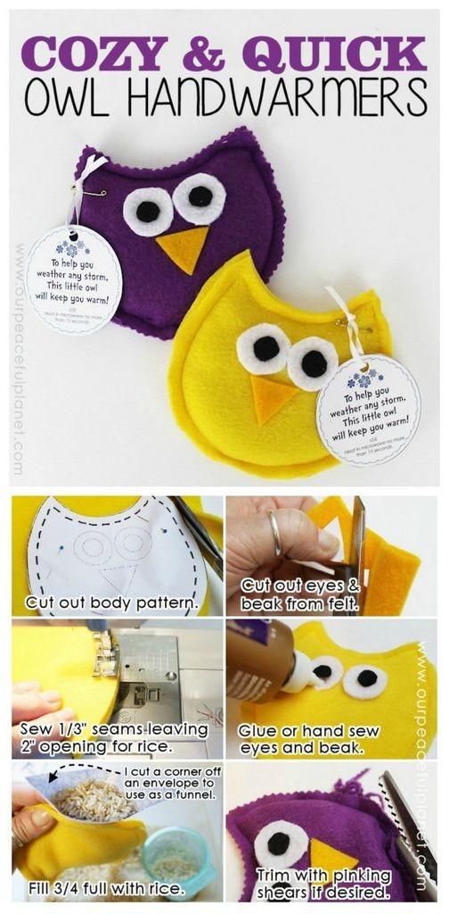 DIY owl handwarmers