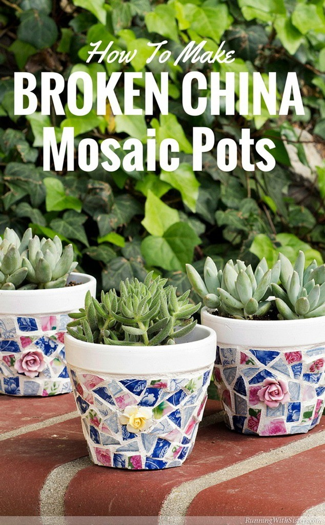 Make broken china mosaic pots