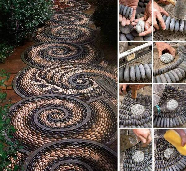 Spiral rock mosaic path tutorial