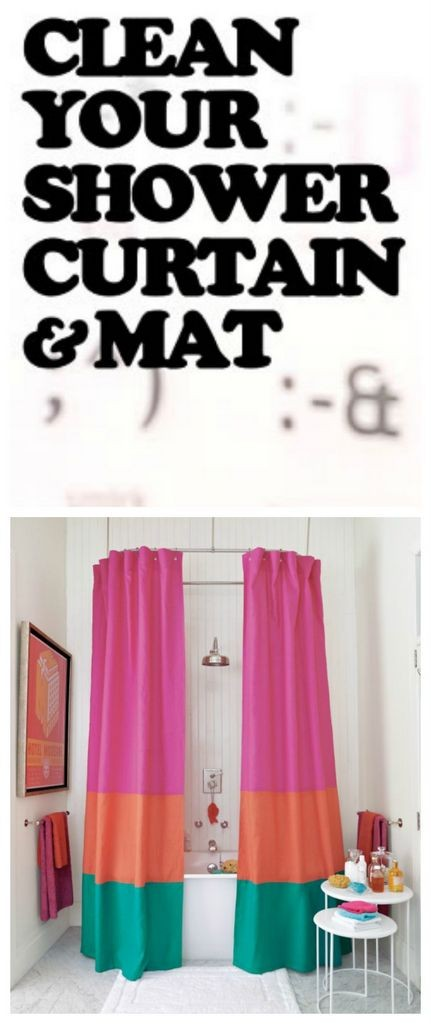 clean shower curtain and mat the easy way