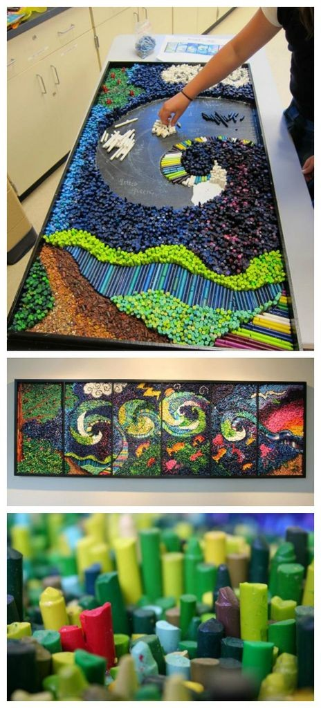 Crayon mosaic art project