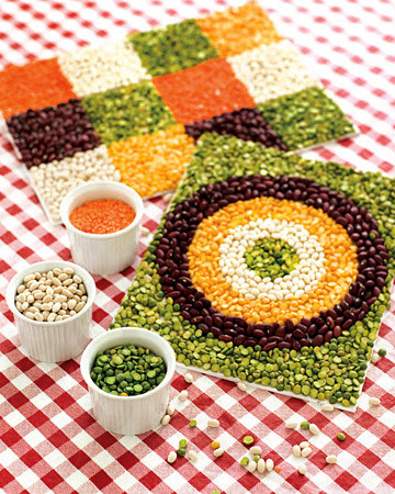 DIY bean mosaic for kids