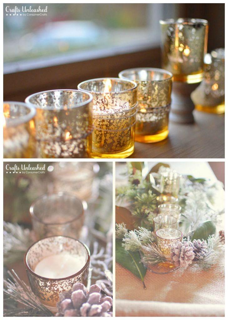 DIY mercury glass candle votives