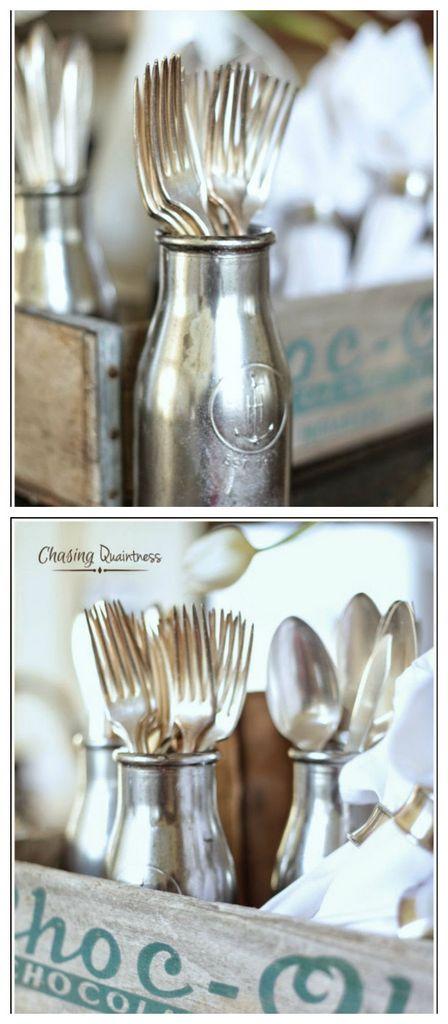 DIY mercury glass cutlery holder
