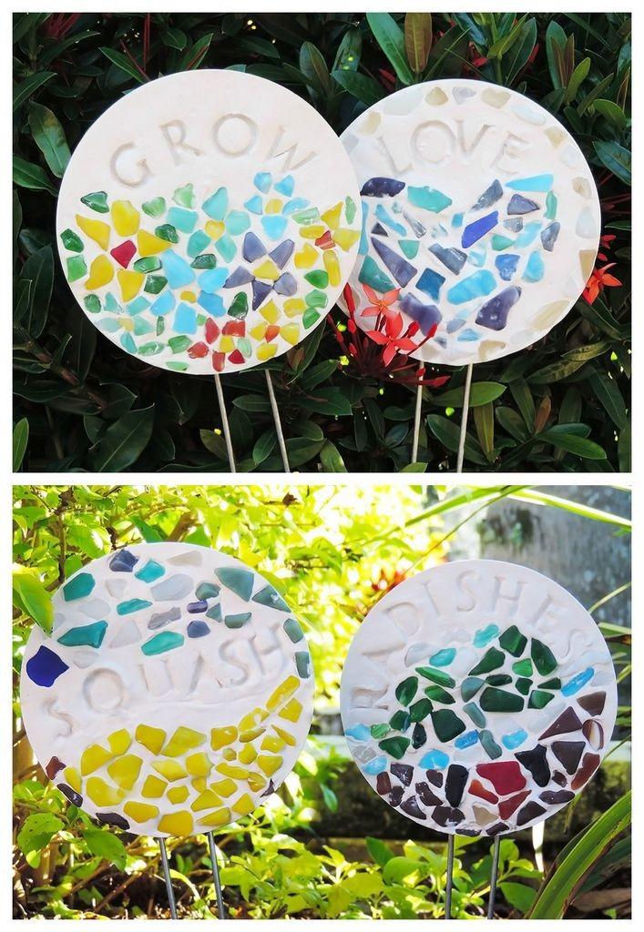 DIY mosaic garden stakes
