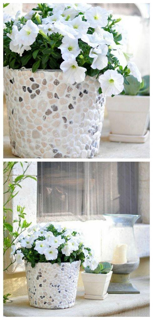 DIY mosaic rocky bucket