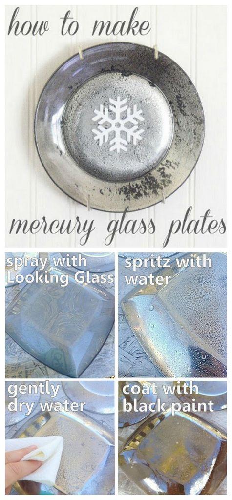 make mercury glass plates