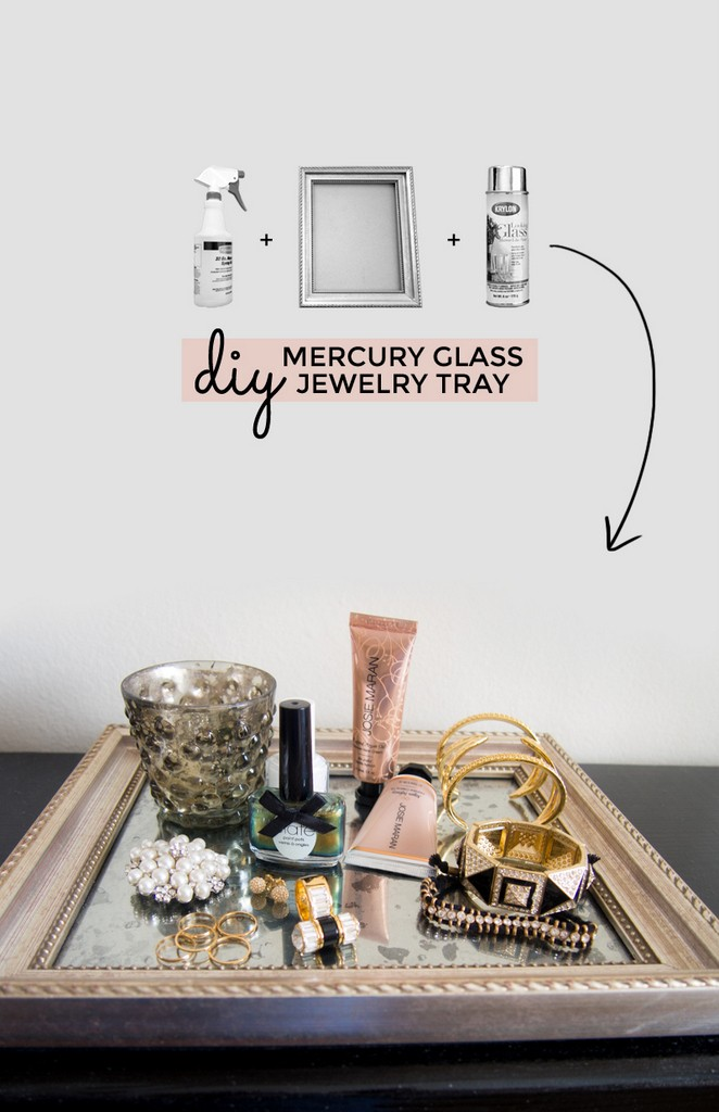 DIY mirror paint tray for jewelry