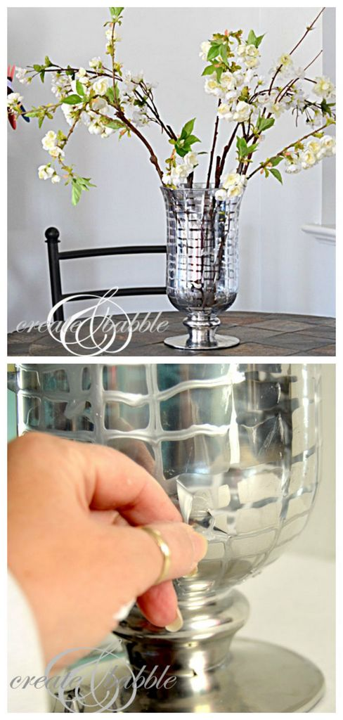 How to make Mercury glass patterns on vase