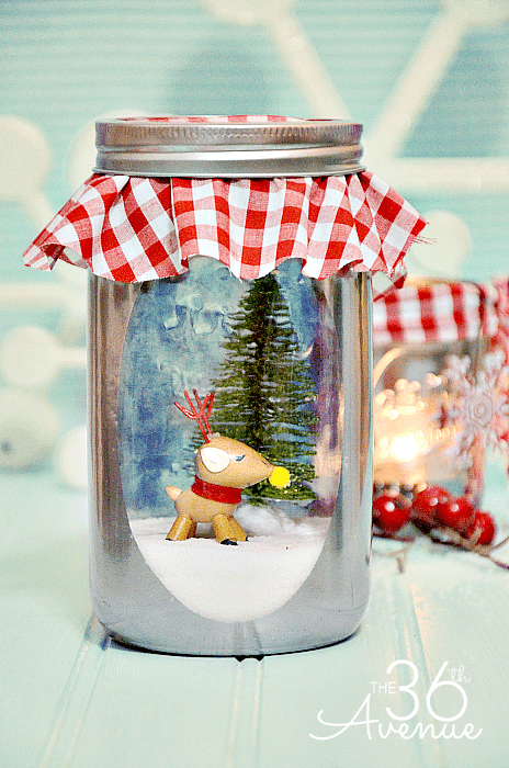 Mirror paint snow globe from mason jar
