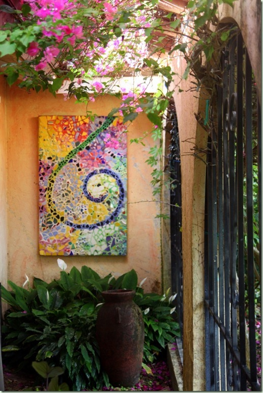 Outdoor mosaic wall art