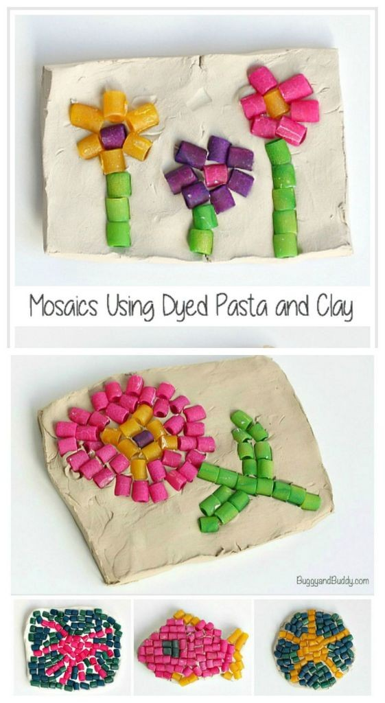 Pasta mosaic kids art