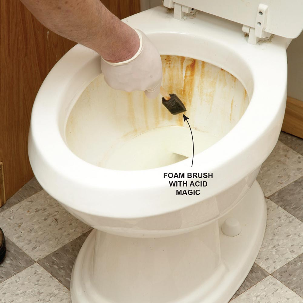 remove tough rust stains from the toilet - Bathroom Cleaning Hacks