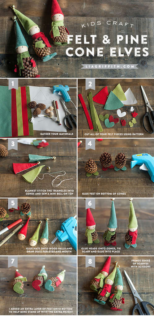 Elf crafts - pine cone elf