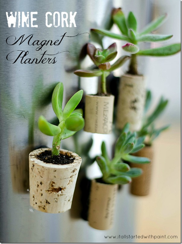 Wine Cork Magnet Planter