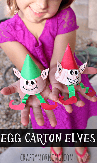 Egg carton elf crafts for kids
