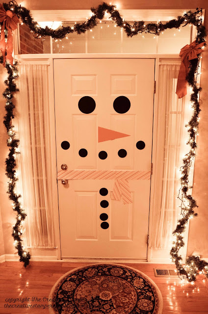 Christmas door snow man