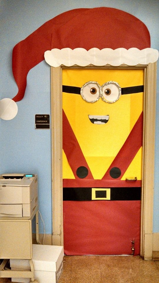 Minion Santa Christmas Door