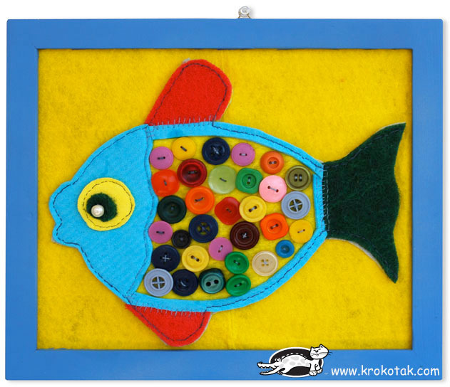 button collage fish