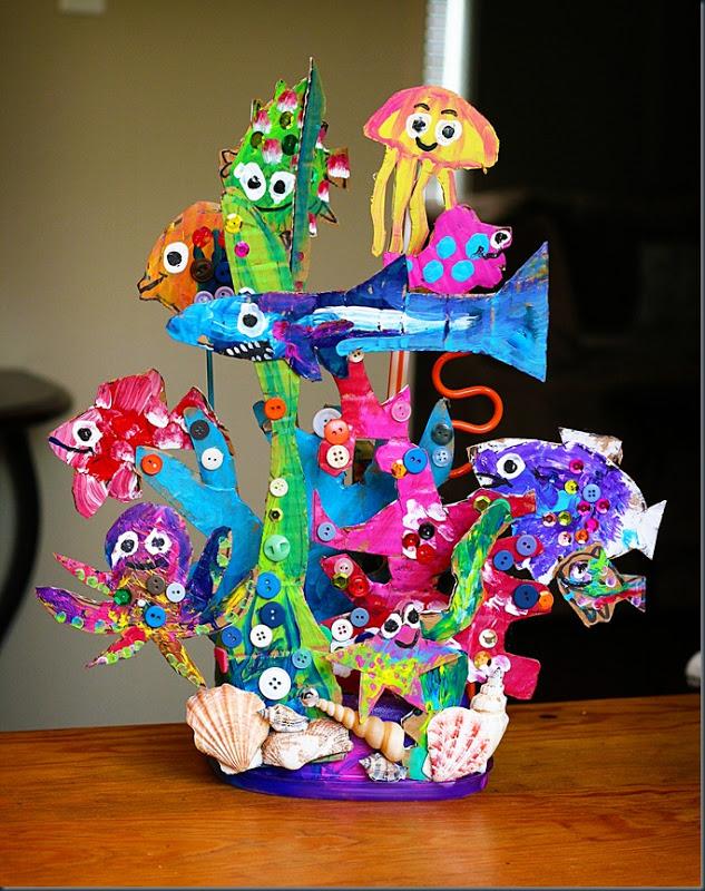 cardboard kids coral reef