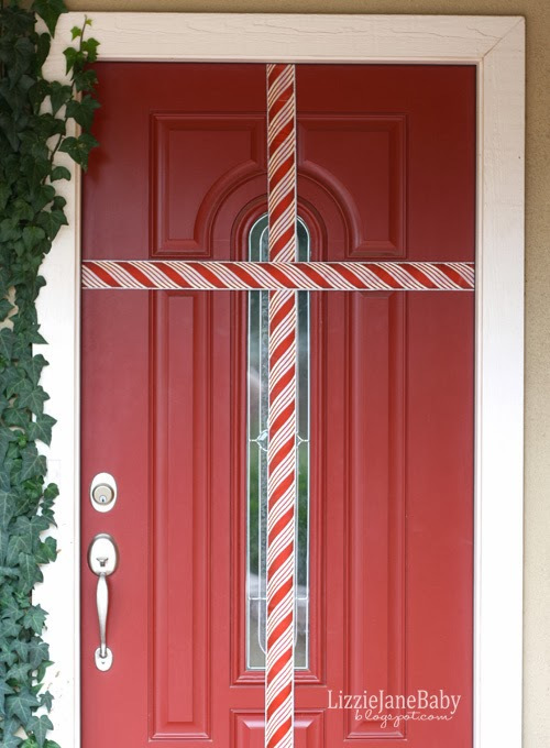 gift wrapped christmas door