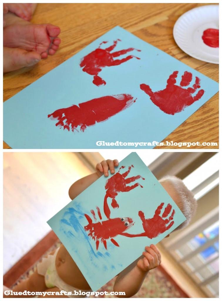 Hand print sea animal kids craft