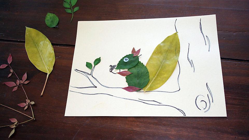 leafy squirrel craft