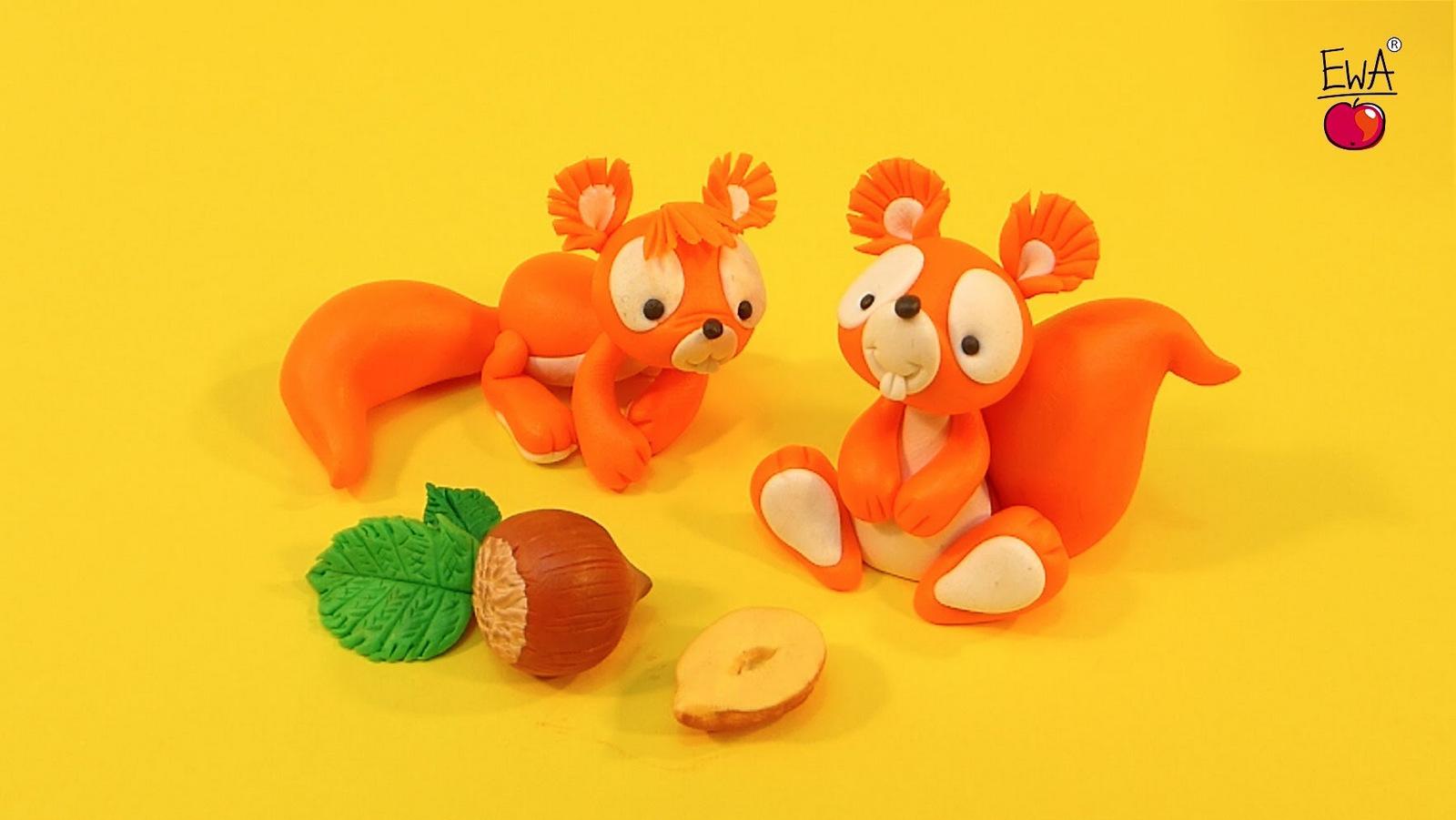 polymer clay squirrel dolls