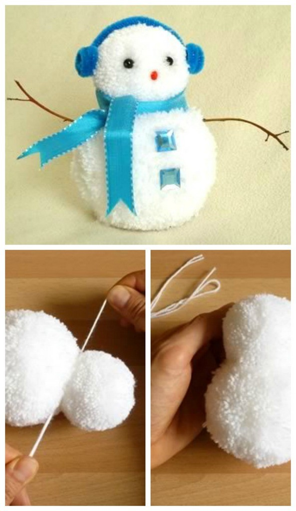 Pom pom snowman - winter craft