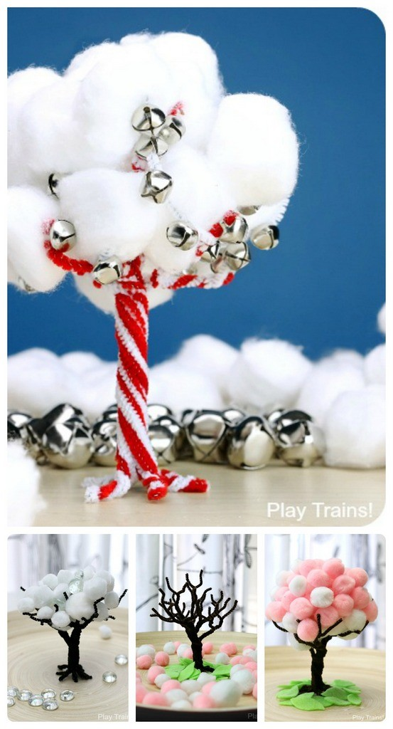 Pom pom tree kids craft